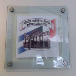 Placa Cristal Institucional con vinilo